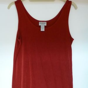 CHICO'S  TRAVELERS RED TANK KNIT SHELL SZ1